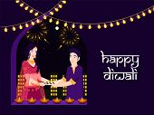 Character of Indian couple holding oil lamp for celebrating Diwali Festival. Happy Diwali poster or  poster