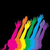 foto of peer-pressure  - Seven people in profile with hands raised - JPG