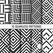 Set Of Ten Black And White Seamless Patterns. Abstract Geometrical Trendy Vector Monochrome Backgrou poster