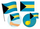 Bahamas Flag Icon Set. National Flag Of Bahamas Vector Illustration poster