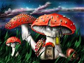 stock photo of trippy  - Illustration of enchanted magical mushrooms in the forest - JPG