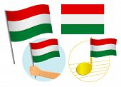 Hungary Flag Icon Set. National Flag Of Hungary Vector Illustration poster