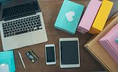 Packing Accessories At Workplace Of Startup Small Business Owner,notebook,tablet,packing Accessories poster
