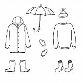 Clothes And Accessories For Cold Season: Raincoat, Boots, Umbrella, Cap, Sweater, Socks, Gloves. Car poster