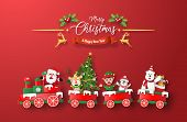 Origami Paper Art Of Christmas Train With Santa Claus And Character On Red Background, Merry Christm poster