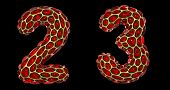 Number set 2, 3 made of realistic 3d render golden shining metallic. Collection of gold shining meta poster