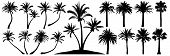Palm Trees Silhouette. Coconut Tree Date Palm. Vector Set Tropical Trees poster