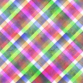 Watercolor Diagonal Stripe Plaid Seamless Texture. Colorful Green Pink Purple Stripes Background. Wa poster