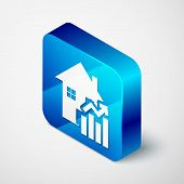 Isometric Rising Cost Of Housing Icon Isolated On White Background. Rising Price Of Real Estate. Res poster
