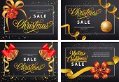 Christmas Sale Poster Set With Text Sample In Frame, Mistletoe, Bauble, Bell, Streamer, Bow On Black poster