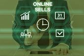 Text Sign Showing Online Sells. Conceptual Photo Sellers Directly Sell Goods Or Services Over The In poster