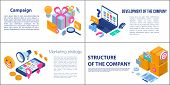 Campaign Banner Set. Isometric Set Of Campaign Vector Banner For Web Design poster