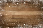 Christmas Background - Old Wood Plank Texture With Snow Frame. Vintage And Rustic Style poster