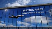 Jet Aircraft Landing At Buenos Aires, Argentina 3d Rendering Illustration. Arrival In The City With  poster
