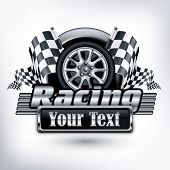 image of motocross  - Racing emblem crossed checkered flags wheel  - JPG
