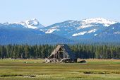 pic of klamath  - Failing Barn and the Cascades mountains near Ft Klamath Oregon - JPG