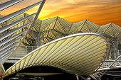 picture of gare  - Modern architecture design in a train station in Lisbon - JPG