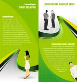 Vector green abstract background with people for a brochure or flyer