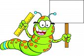 image of inchworm  - Cartoon illustration of an inchworm holding a sign and a ruler - JPG