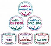 stock photo of greater antilles  - Passport stamps from Jamaica and Puerto Rico in the Caribbean in vector format - JPG