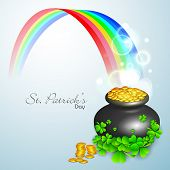 Irish shamrock leaves and golden coins pot flyer, banner or background for Happy St. Patrick's Day.
