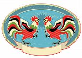 pic of fighting-rooster  - Rooster fight label on old paper texture - JPG