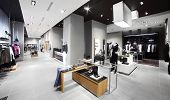 pic of department store  - interior of brand new fashion clothes store - JPG