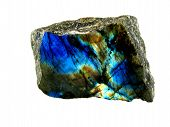 stock photo of labradorite  - Photo of nice colorful mineral Labradorite on white background - JPG
