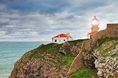 Historic Lighthouse At Cape Sea. Portugal.