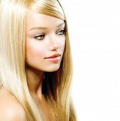 picture of hair streaks  - Beauty Girl Portrait with Long Blonde Hair - JPG