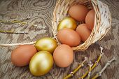 stock photo of hen house  - Group gold eggs spilled out of a basket - JPG