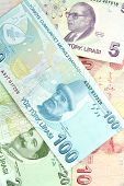 stock photo of turkish lira  - Turkish banknotes - JPG