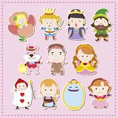 stock photo of alice wonderland  - cute cartoon story people icons - JPG