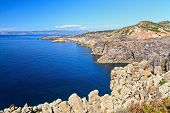 stock photo of promontory  - cliff in San Pietro island Carloforte Sardinia Italy - JPG