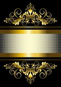 Gold ornament and gold stripes with ribbon
