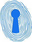 stock photo of superimpose  - Vector illustration of a human thumbprint or fingerprint superimposed over a keyhole lock conceptual of safety - JPG