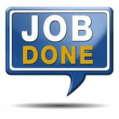 image of job well done  - job done and task accomplished icon or sign - JPG