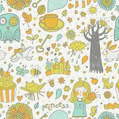 Stylish fairytale seamless pattern with little princess, horse, magic tree, castle, frog, key, cake.