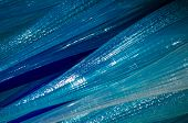 foto of blown-up  - Close up of blue coloured blown glass producing interesting textures and colours - JPG