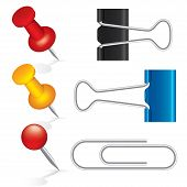 Colorful pushpin, paper clip, binder clip icon set