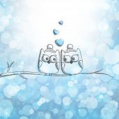 stock photo of snow owl  - christmas card with hand drawn owls - JPG