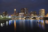 COLUMBUS, OHIO - OCTOBER 18, 2013: The new Rich Street Bridge lights the waters of the Scioto River