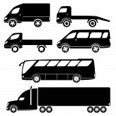 picture of wrecker  - Cars silhouettes vector collection  - JPG