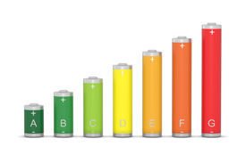 stock photo of solar battery  - Lot of batteries with different energy performance - JPG
