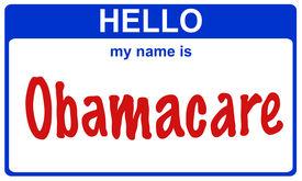 stock photo of lobbyist  - hello my name is obamacare blue sticker - JPG