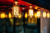 picture of fluorescent light  - Lighting decoration with vintage bulbs  - JPG