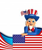 image of uncle  - 3d rendered illustration of Uncle Sam is thinking - JPG