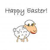 picture of animated cartoon  - A funny cartoon Easter sheep - JPG