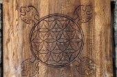 stock photo of pentagram  - Wooden Flower of Life - JPG