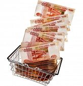 One Million Russian  Banknotes Rubles of the Russian Federation falling in your shopping basket cart